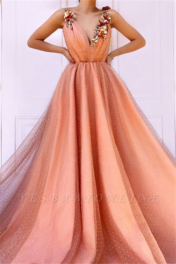 Orange Flower Appliques Straps Sleeveless Mesh  Prom Dress