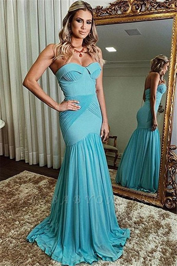 Newly Strapless Ruffle Long Sexy Mermaid Prom Dresses