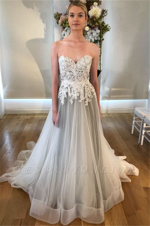 Stunning Sweetheart Lace Appliques Wedding Dresses