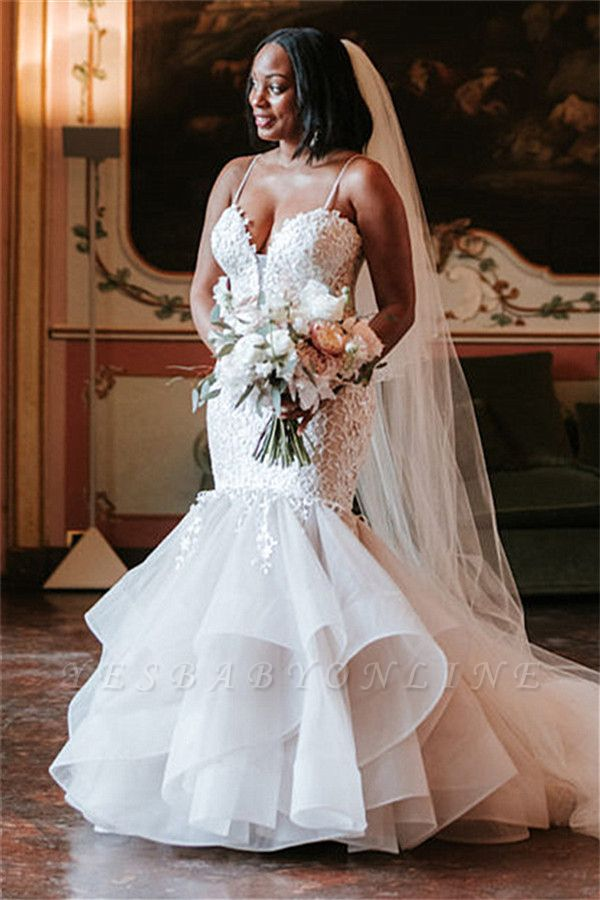 Stunning Spaghetti-Strap Lace Appliques Wedding Dresses