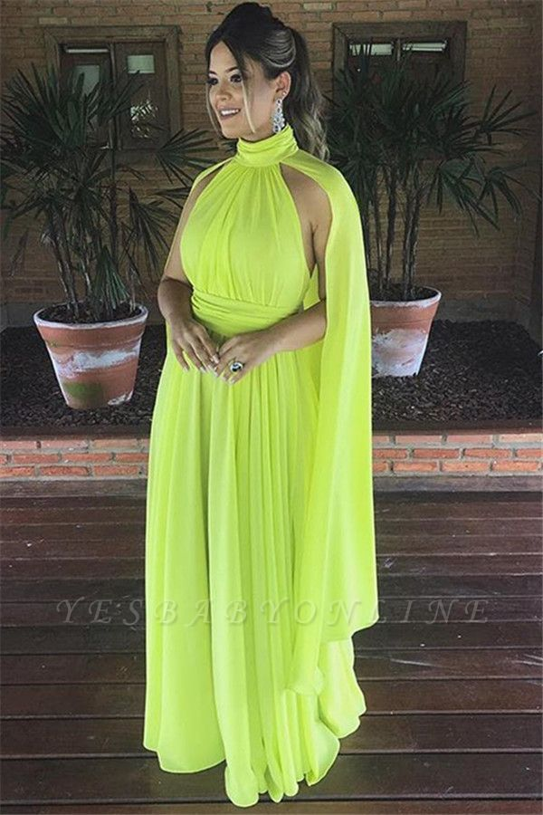 Gorgeous High-Neck A-Line Long Prom Dress