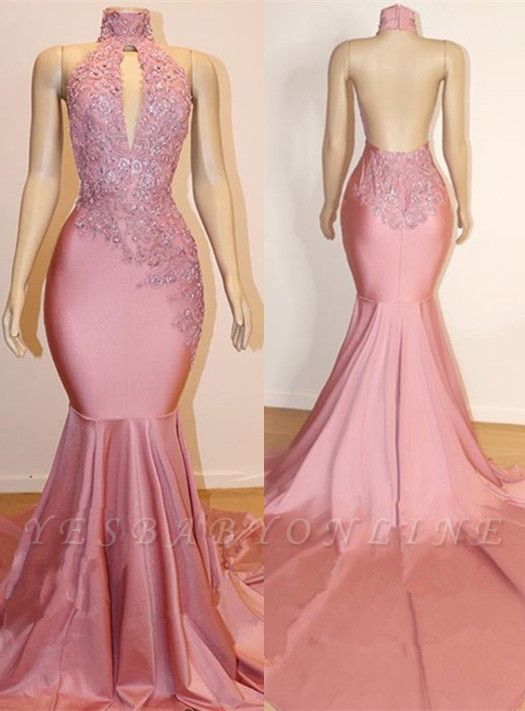 Halter Backless Sexy Mermaid Appliques Long Train Prom Dresses