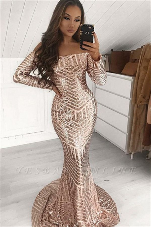 Sexy Sequins Off-The-Shoulder Long-Sleeves Sexy Mermaid Prom Dresses