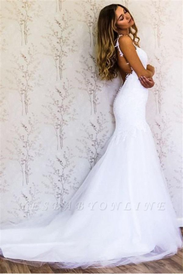 Straps Lace Appliques Mermaid Wedding Dresses