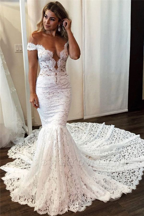 Lace Off The Shoulder Wedding Dresses Sexy Mermaid Floral Bridal