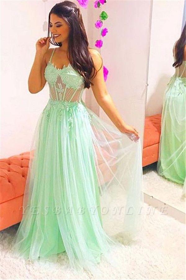 Elegant Spaghetti-Straps Sheer  Sleeveless Prom Dress