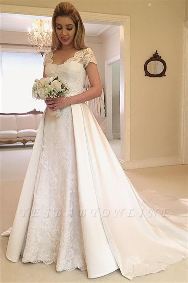 Beautiful Appliques Cap Sleeves A-line Wedding Dresses