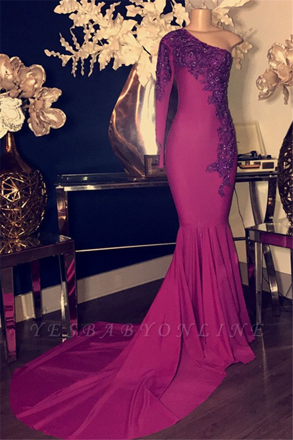 Glamorous Appliques One-Shoulder Long Sleeves Sexy Mermaid Prom Dresses