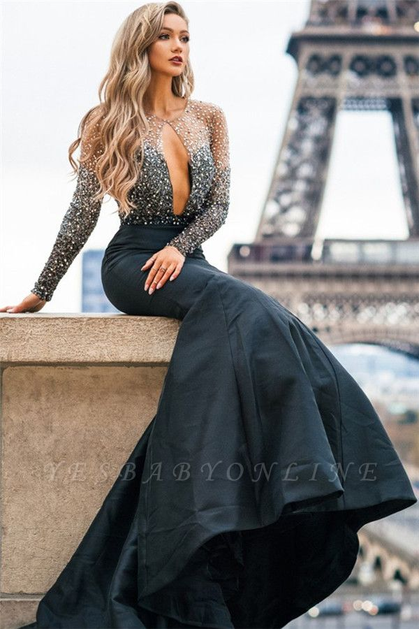Glamorous Sheer-Mesh Appliques Sexy Mermaid Black Prom Dress with Long Sleeves