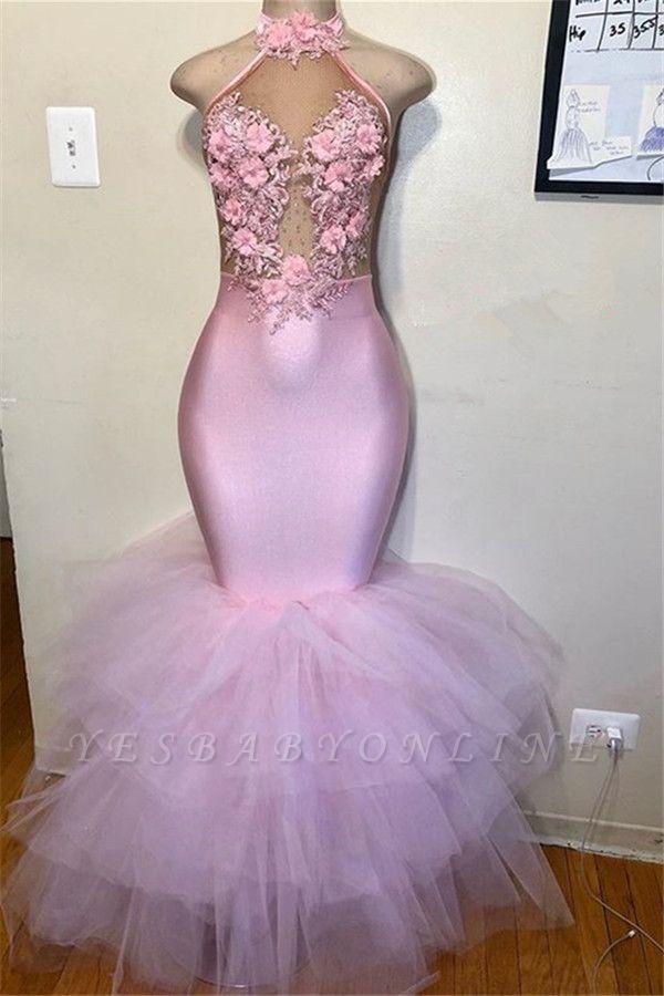 Pink Halter Sleeveless Flower Appliques  Mermaid Prom Dress
