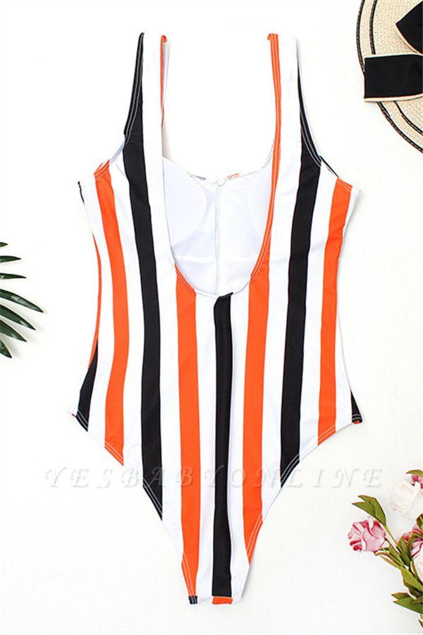 One Piece Zipper Stripes Straps Swimwear Suits