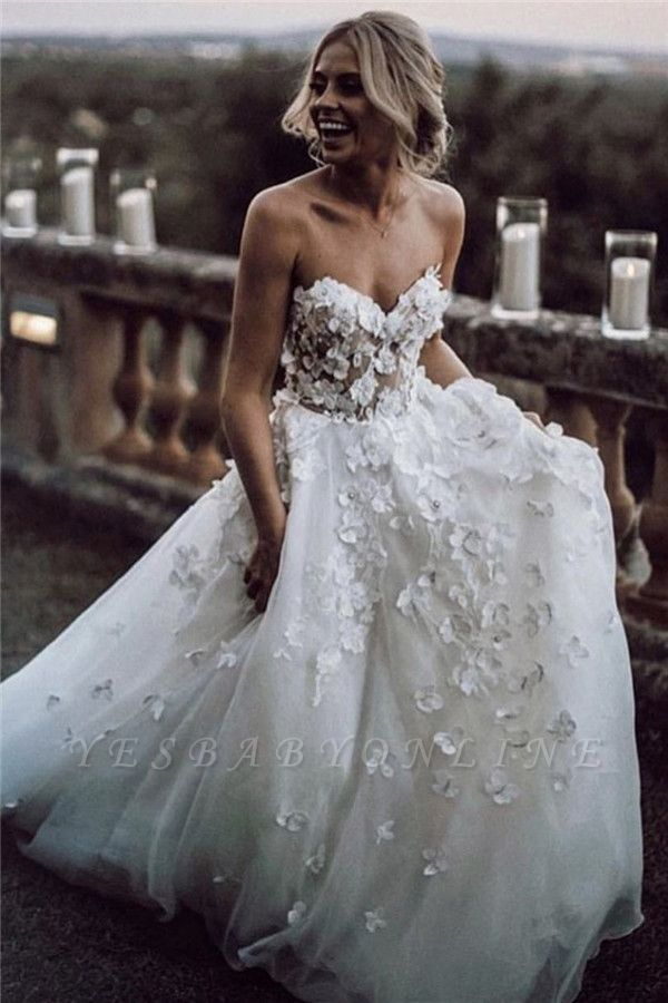 Strapless Sweetheart Casual Barn Wedding Dresses | Farm Wedding Gowns with Handmade Flowers