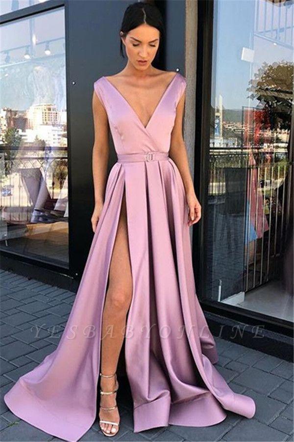 Fashion Pink Straps Deep-V-Neck Side-Slit  Prom Dresses