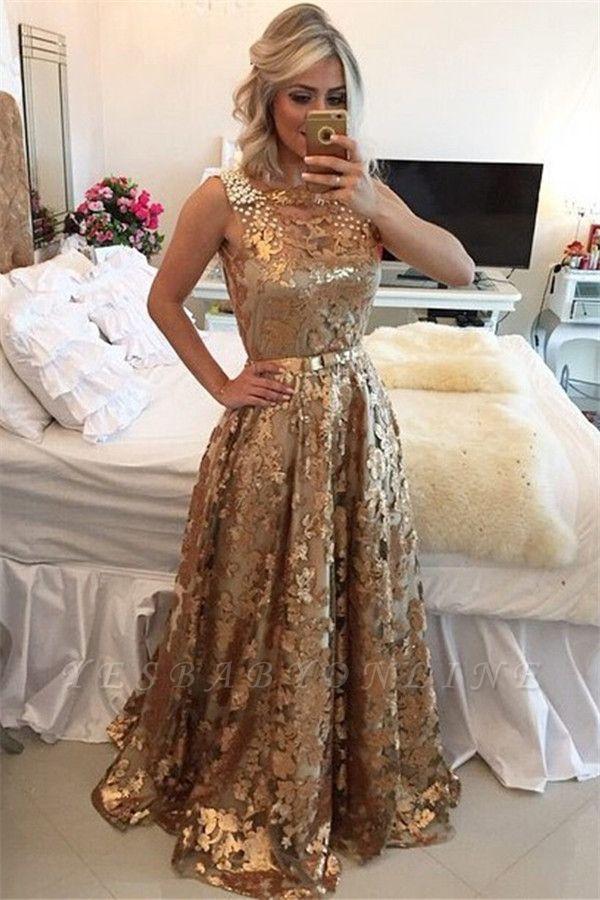 Glamorous Gold Straps Beaded Sequins Sleeveless Prom Dress