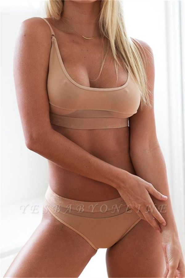 Simple Two Piece Hollow Out Mesh Sexy Bikini Sets