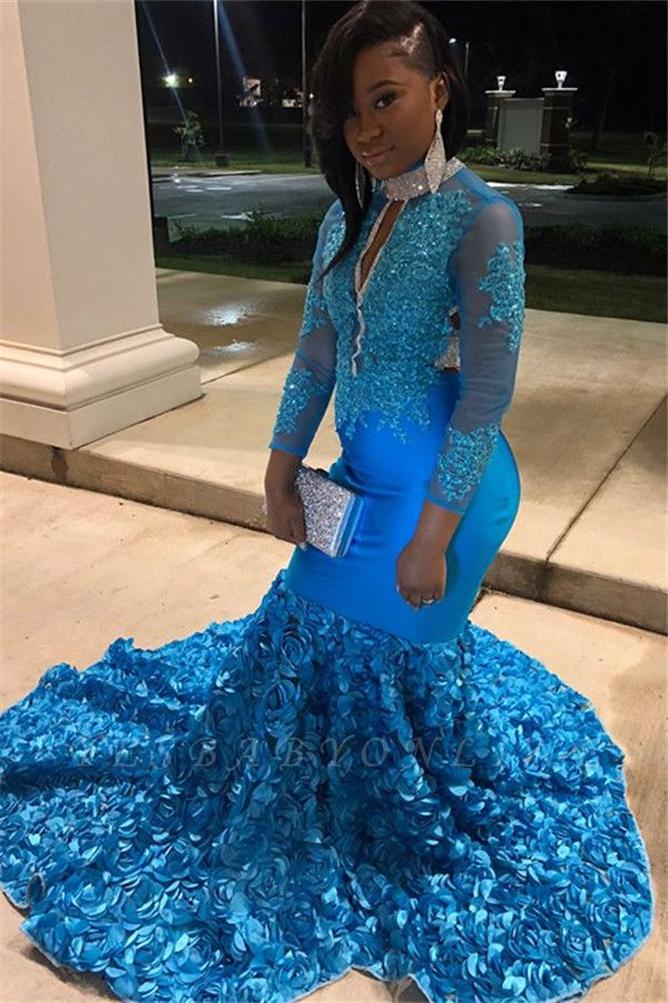 Gorgeous High-Neck Appliques Flower Long-Sleeves Mermaid Prom Dress