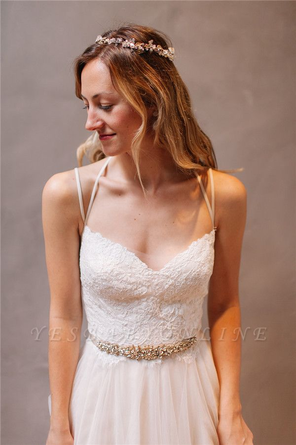 Glamorous Spaghetti-Strap Lace Crystal Wedding Dresses