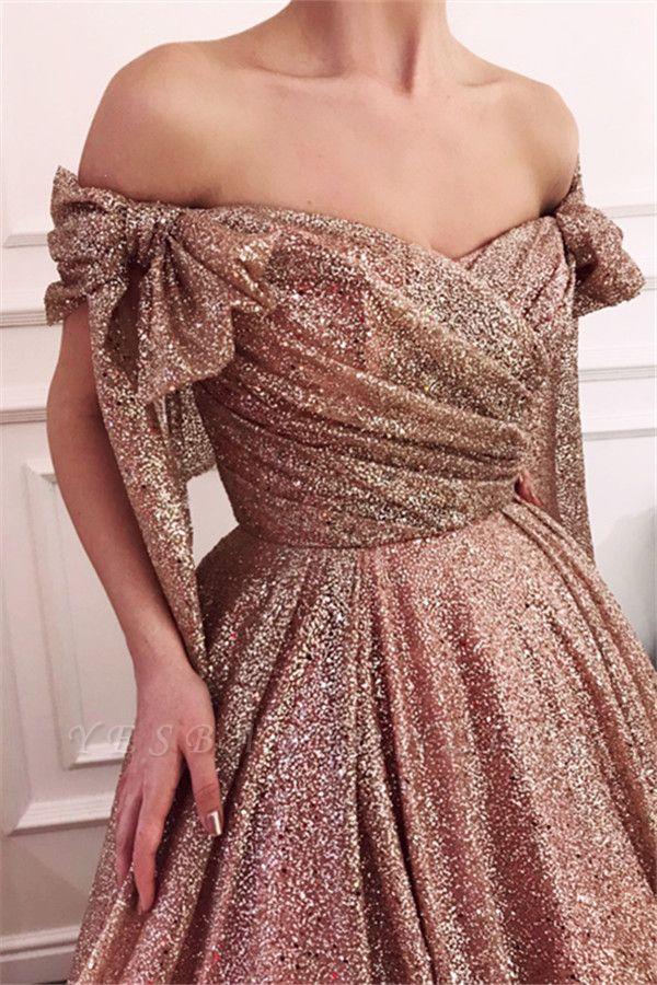 Glamorous Off-The-Shoulder Sequins  Evening Dress