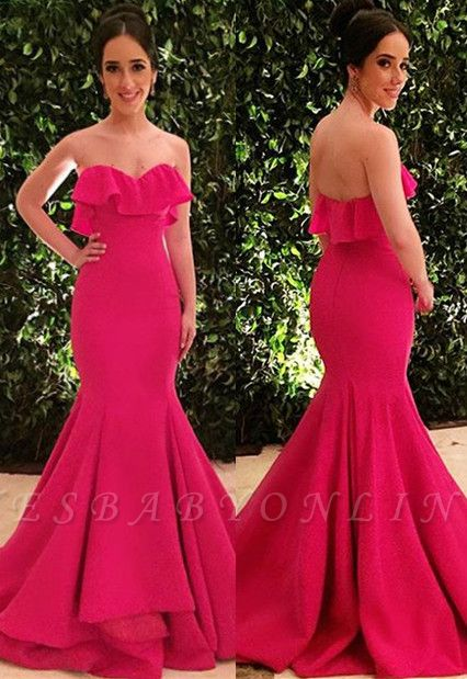 Glamorous Strapless Ruffle Sleeveless Long Sexy Mermaid Prom Dress