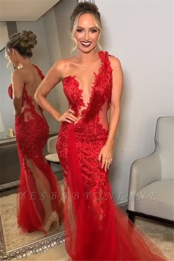 Burgundy One-Shoulder Lace Appliques Applique Backless Sexy Mermaid Tullle Prom Dresses