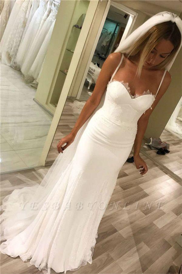 Spaghetti-Strap Lace Appliques Wedding Dresses   Rubbons Sleeveless Floral Bridal Dresses