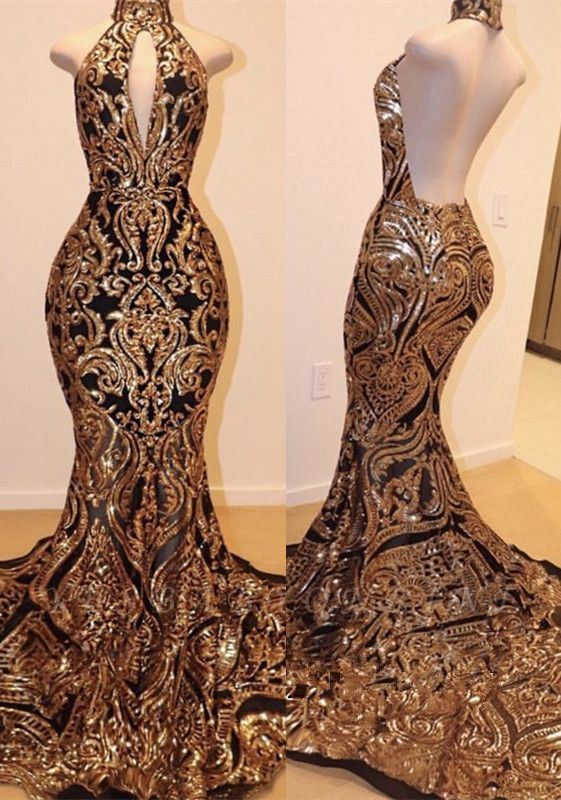 Halter Keyhole Neckline Sequins Appliqued Sexy Mermaid Prom Dresses
