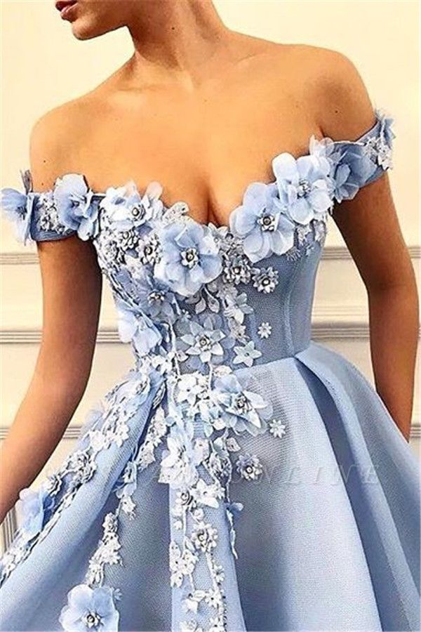 Gorgeous Off-The-Shoulder Flower Appliques Sleeveless  Prom Dress