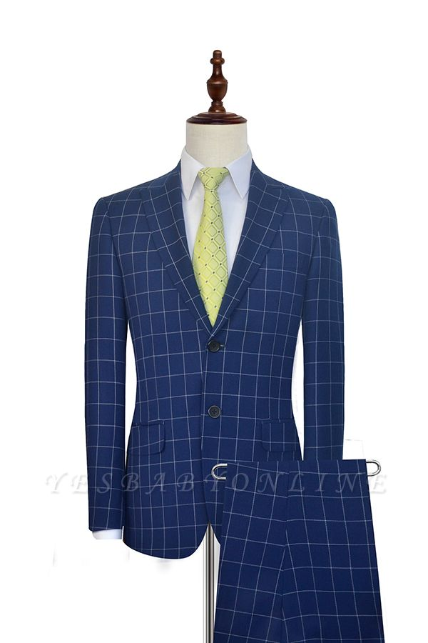 Newly Deep Blue Grid Wool Peak Lapel Custom Made Suit | Single Breasted Two Button Unique Wedding Suit For Groom