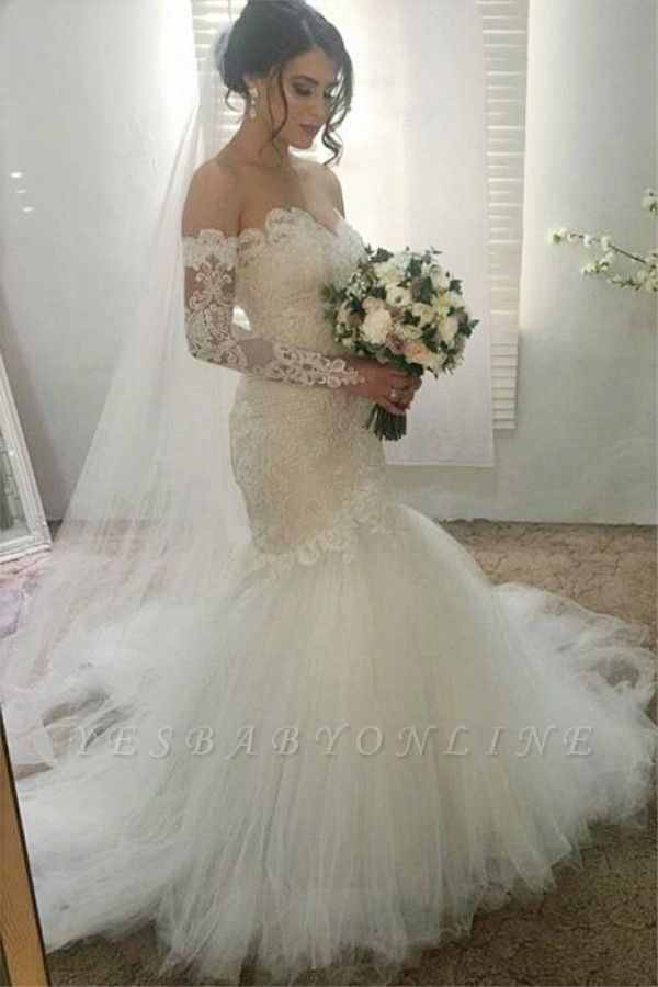 Glamorous Sweetheart Lace Appliques Wedding Dresses | Ribbons Long sleeves Floral Bridal Dresses