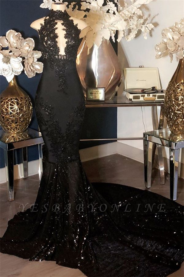 Appliques High-Neck Long Sexy Mermaid Black Prom Dresses