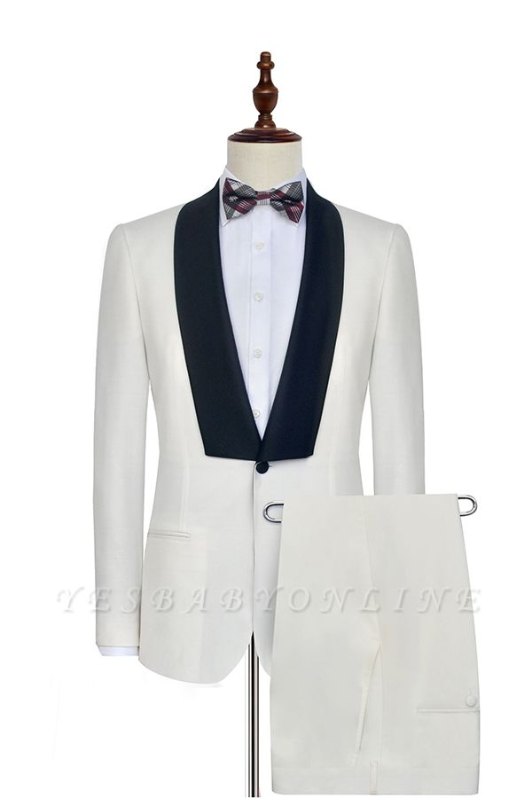 White Shawl Collar Single Breasted Wedding Suit | New Arrival 2 Pocket Custom Suit For Men