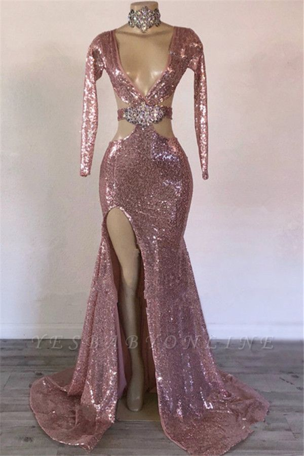 Glamorous Sequins V-Neck Long Sleeves Side Slit Sexy Mermaid Prom Dresses
