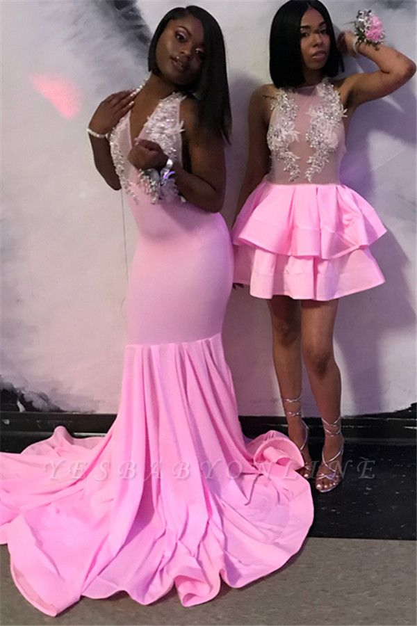 Gorgeous Pink Halter Sleeveless Sexy Mermaid Girl's Evening Gown