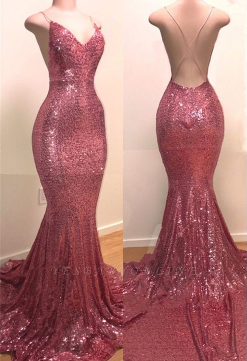 Sequins V-neck Sleeveless Spaghetti Backless Prom Dresses