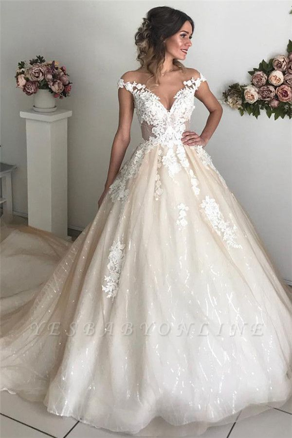 Applique Off-the-Shoulder Wedding Dresses | Sequins Backless Sleeveless Floral Bridal Dresses