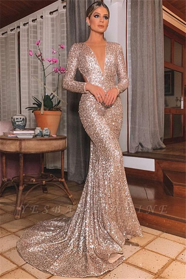 Sexy Silver Backless Lone-Sleeves V-Neck Sequins Sexy Mermaid Evening Gownes