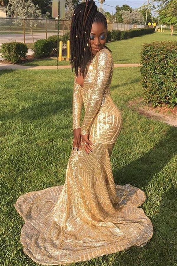 Gold Long-Sleevees V-Neck Sequins Mermaid Prom Dresses
