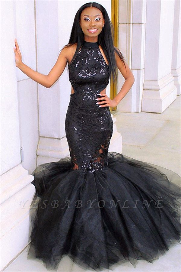 Sexy Black Halter Sleeveless Applique Mesh Sexy Mermaid Prom Dress