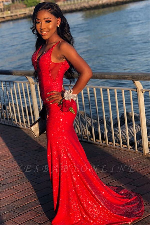 Gorgeous Red Sequins Sexy Mermaid Spaghetti-Straps Long Prom Dresses
