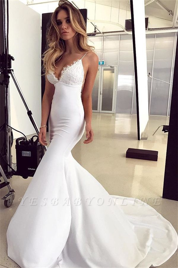 Gorgeous Spaghetti-Straps Applique Mermaid Wedding Dress