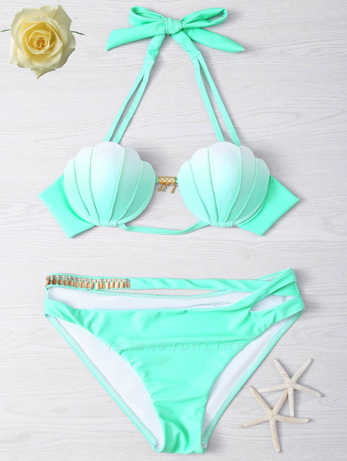 Shell Shaped Gradient Mint Green Sexy Bikini Set