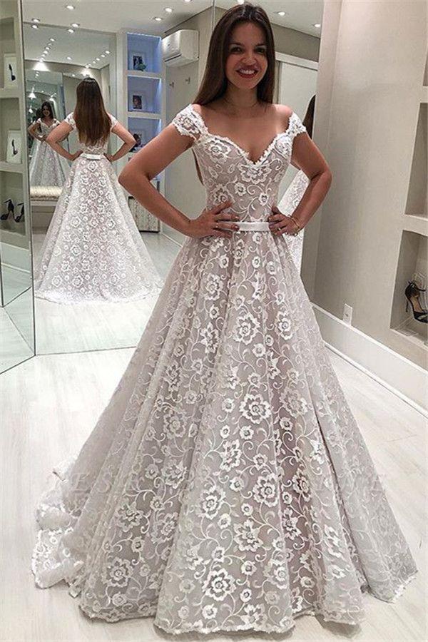 Gorgeous Off-The-Shoulder Appliques A-Line Wedding Dress