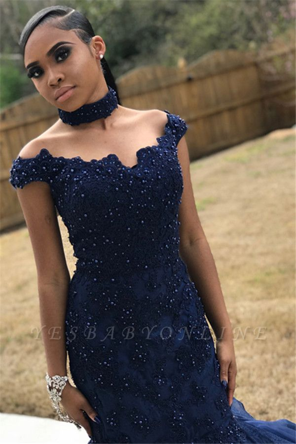 Navy Blue Off-The-Shoulder Beaded Appliques Mesh Sexy Mermaid Prom Dresses