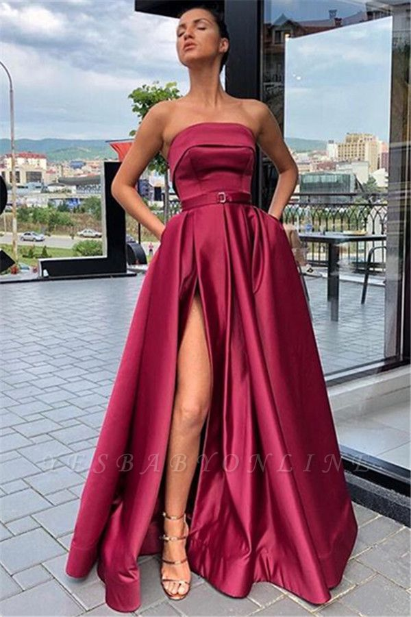 Cheap Burgundy Strapless Side-Slit  Evening Gown