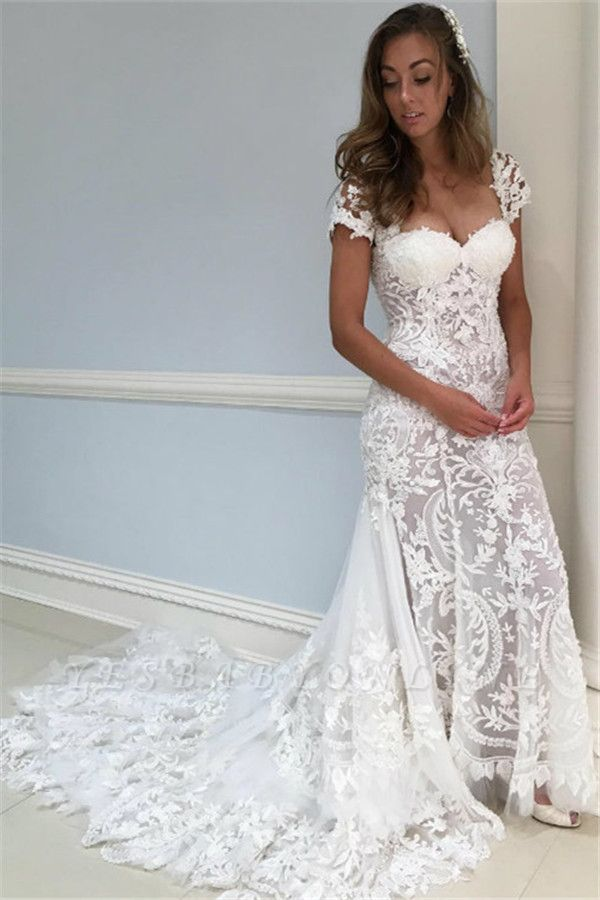 Stunning Lace Appliques Wedding Dresses | Cap Sleeves Floral Bridal Dresses