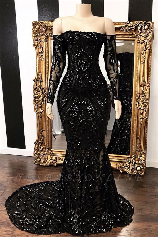 Off-the-shoulder Long Sleeves Sexy Mermaid Sweep Train Prom Dresses