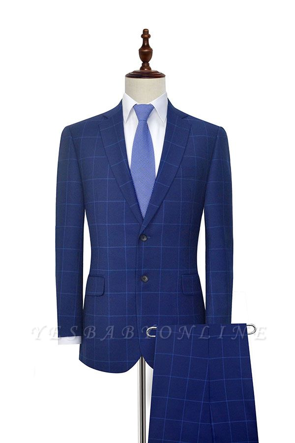 Blue Plaid Notched Lapel Custom Suit for Men | Latest Design Single Breasted Two Pockets Hand Made Men Suit