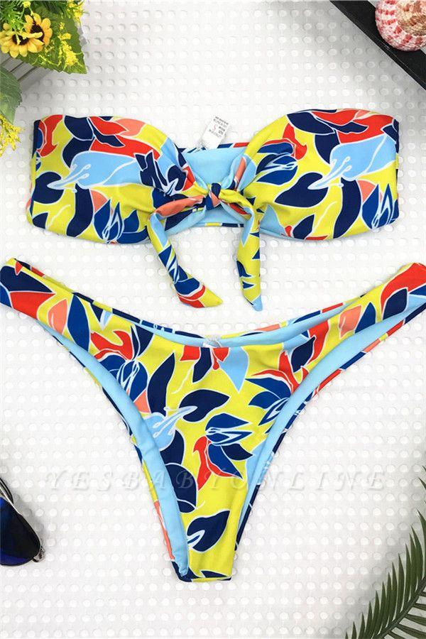 High Waist Strapless Colorful Patterns Two Piece Sexy Bikinis