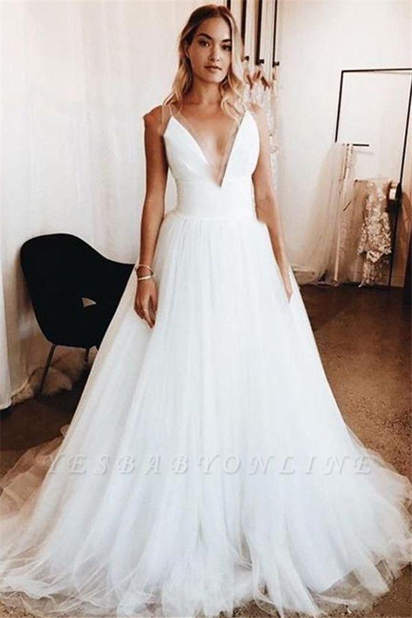 Glamorous V-Neck Applique Wedding Dresses   Sleeveless Floral Bridal Gowns