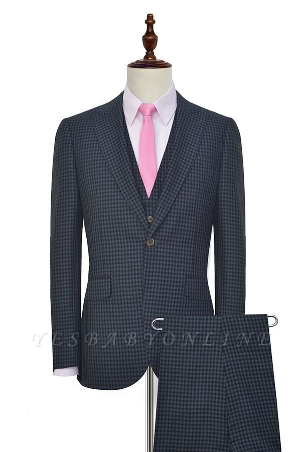 Dark Gray Small Grid One Button Peaked Lapel Custom Wedding Suit | Single Breasted Three-Piece Suit For Men Tuxedos